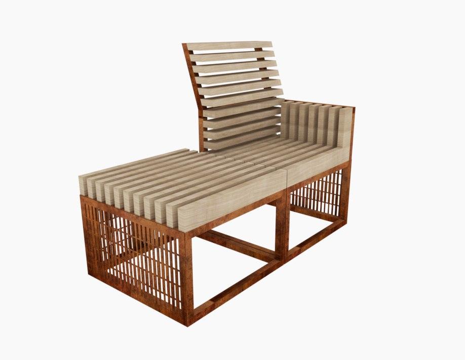 Модульная скамейка Pattern Cortenium
